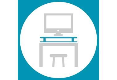 교체없이 쉽게 설치 가능한 책상.